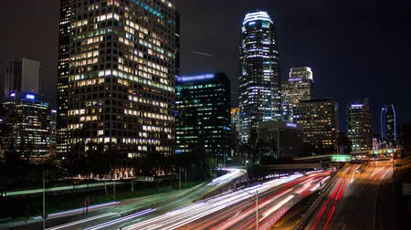 us bank tower : Downtown Los Angeles Freeway Night Timelapse