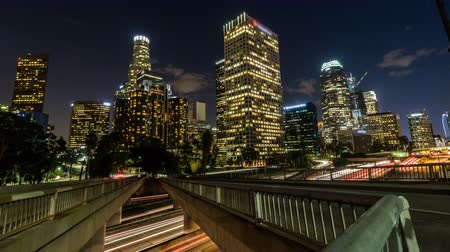 us bank tower : Downtown Los Angeles Dusk to Night, Freeway and Building Timelapse Stock Footage
