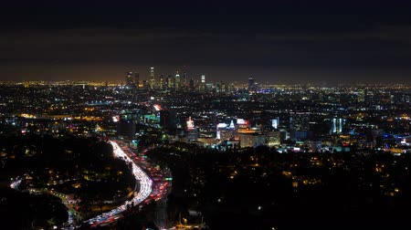 us bank tower : Los Angeles and Hollywood at Night Timelapse