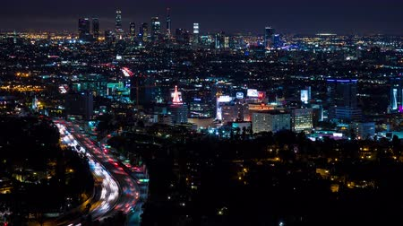 us bank tower : Downtown Los Angeles and Hollywood Freeway at Night Timelapse