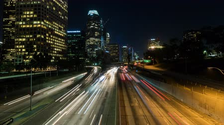 us bank tower : Downtown Los Angeles Freeway Timelapse (With Panning) Stock Footage