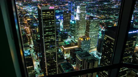 us bank tower : Downtown Los Angeles Aerial Night Rooftop Timelapse