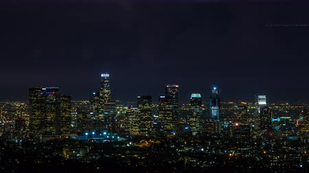 botok : Downtown Los Angeles Close Night With Lightning Bolts and Planes