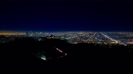 us bank tower : Los Angeles and Griffith Observatory at Night Wide Timelapse