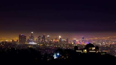 us bank tower : Downtown Los Angeles and Griffith Observatory at Night Timelapse