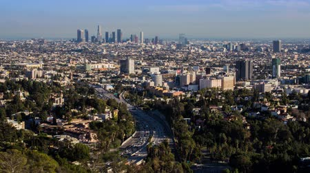 us bank tower : Los Angeles From Hollywood Bowl Overlook Day Timelapse Stock Footage