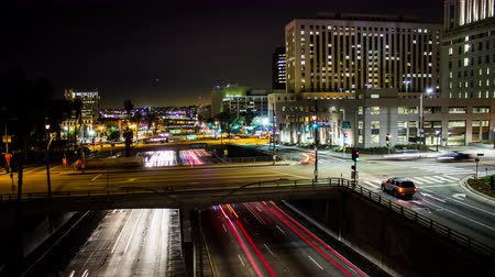 us bank tower : Downtown Los Angeles Traffic Night Timelapse