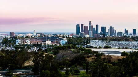 us bank tower : Downtown Los Angeles and Dodger Stadium Day to Night Sunset