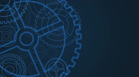 robot : Technology concept with gears on blue background