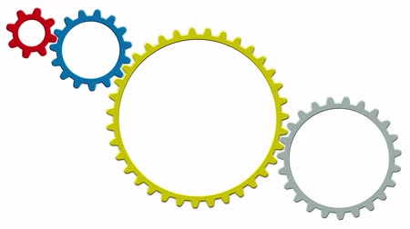 collaboration : Technology concept with gears on white background. 4K Stock Footage