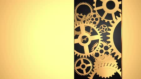 fogaskerék : Technology concept with golden gears on black background