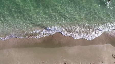 shoreline : Aerial view footage of sea waves reaching shore. Top view on the beautiful sandy beach from copter. 4K video