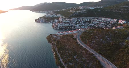 rivera : Aerial footage of the city Neum in Bosnia-Herzegovina... Stock Footage