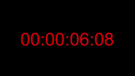 Footage of a red digital clock, the countdown is set to ten seconds, position of the time code is at the center... Wideo