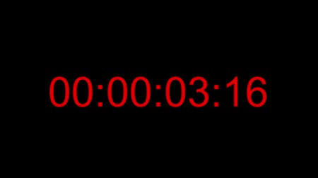 Footage of a red digital clock, the counter is set to ten seconds...