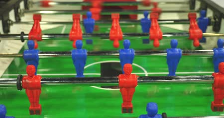 Close up view of a table football game and people having fun... Wideo