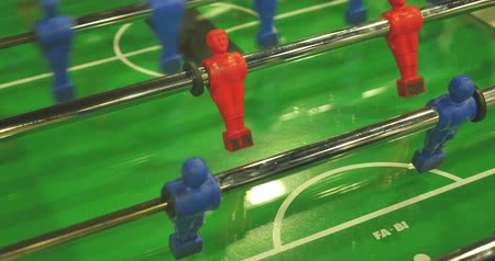 Close up shot of a table football game... Wideo