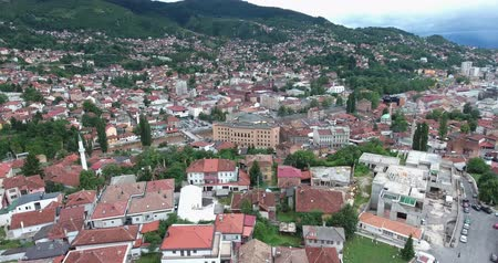 franz ferdinand : Aerial footage of Sarajevo and its national library...