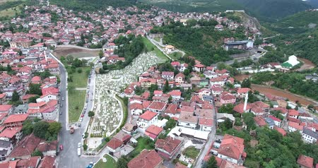 franz ferdinand : Aerial footage of Sarajevos old town and cemetery... Stock Footage