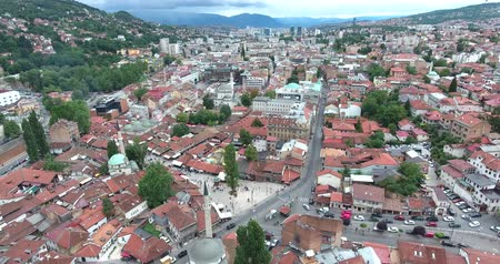 wwi : Aerial footage of Sarajevos old town...