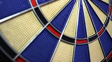 dart : A moving shot from the bottom to the top of a dart board and a person hitting the outer bullseye...