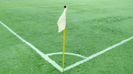 metin alanı : Footage of a football corner flag on a windy day... Stok Video