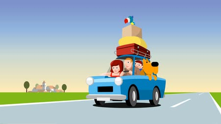 bird family : Family in a blue car loaded with luggage, cartoon footage