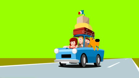 bird family : Family in a blue car loaded with luggage, cartoon footage, on a green background Stock Footage