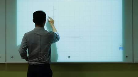 компания : A male teacher drawing a graph using Interactive Projector Board, 21st century learning style.