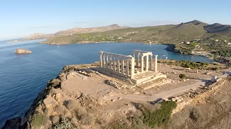 görögország : Temple of Poseidon in Sounio Greece aerial footage Clockwise movement