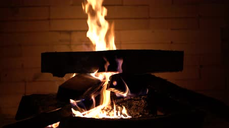Fireplace and wood background