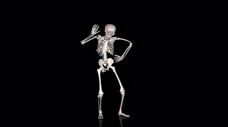csontváz : Skeleton Disco Dancing - White-  Reflecting Ground -  CGI Stock mozgókép