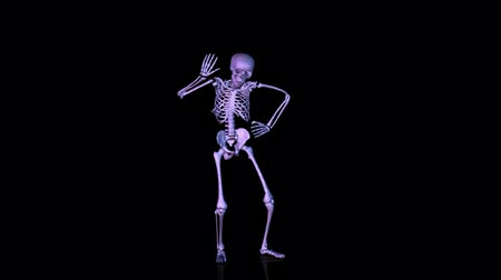 csontváz : Skeleton Disco dancing. Blue shaded. CGI HD