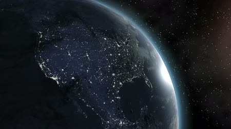 north america : Sunrise over North America. Highend Earth. Animation.  All other continents available too.