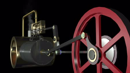 lokomotif : Animation of a steam engine. Animation of a steam engine.  Use for looping possible, but smoke in background jumps a little.Animation of a steam engine.  Stok Video
