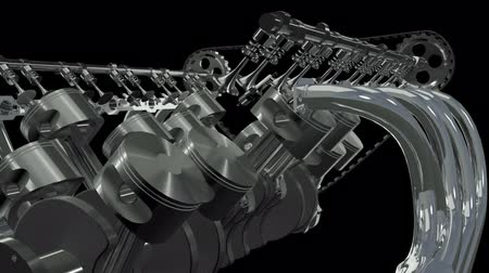 silnik : Twelve Cylinder V Motor Animation. Seamless looping. Alpha channel appended. Wideo