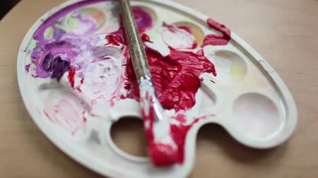 oilpaint : Smeared with the brush in the palette with paints. Stock Footage