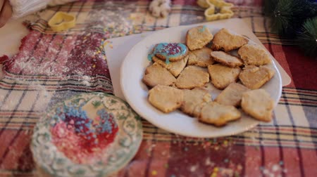 powdered : Cooking at home homemade ginger cookies. Stock Footage