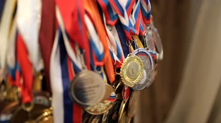 victor : A large number of Russian sports medals Stock Footage