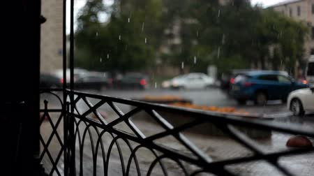 A strong torrential rain in city Moscow