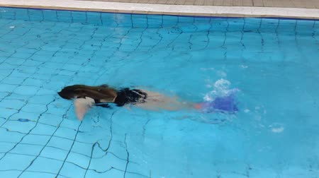 sualtı : cute girl with monofin swims in the pool by the little mermaid