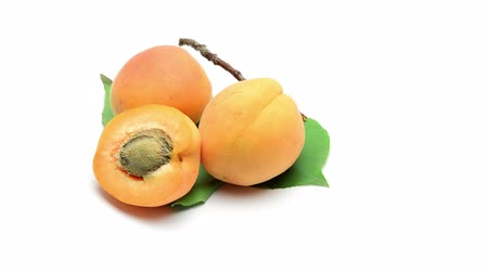 şeftali : fresh bio apricots rotating on white background Stok Video