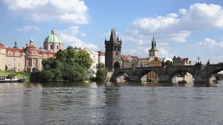 prague bridge : PRAGUE - AUGUST 4: View from the boat of the Charles Bridge on august 4.2015 in Prague - Czech