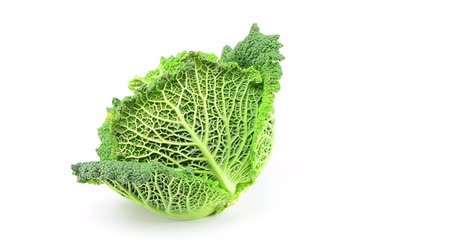 crinkle : savoy cabbage rotating on white background