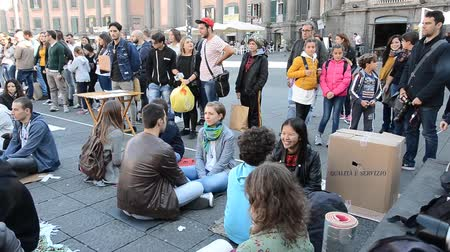 sentiment : NAPLES, ITALY - October 29: The Worlds Biggest Eye Contact Experiment.share minutes to eye contact with strangers in public to rebuild our sense of shared humanity on October 29, 2016 in Naples