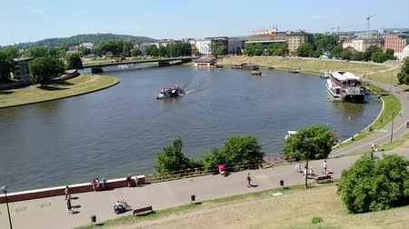 wisla : KRAKOW, POLAND-AUGUST 6, 2017: view of the Vistola River from Wawel Castle. It was the home of kings and Polish princess.