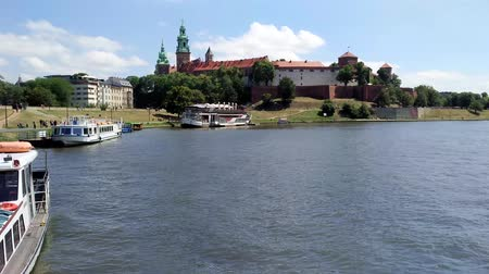 wisla : KRAKOW, POLAND-AUGUST 6, 2017: Wawel Castle from Vistola River Cruise. It was the home of kings and Polish princess.