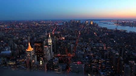 panorâmico : View on Manhattan, New York City, from Top of Building at Sunset Stock Footage