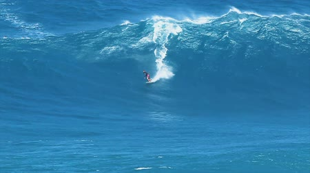 MAUI, HI - MARCH 13: Professional surfer Yuri Soledade rides a giant wave at the legendary big wave surf break known as  Wideo
