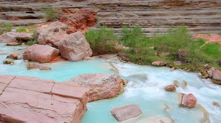 сухой : Stream Flowing in Beautiful Canyon in the Grand Canyon National Park Стоковые видеозаписи